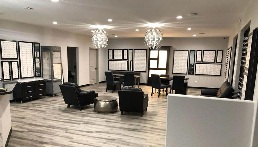 Interior elite Eyecare center frames and waiting area